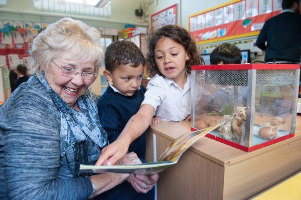 Intergen volunteer at Barlow Hall Primary School, Chorlton, Manchester