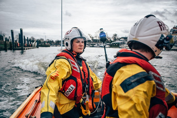 Manon Jones and Harry Eaton, Volunteer Crew at Teddington Lifeboat Station RNLI onboard the station's Class D Lifeboat on a training exercise.