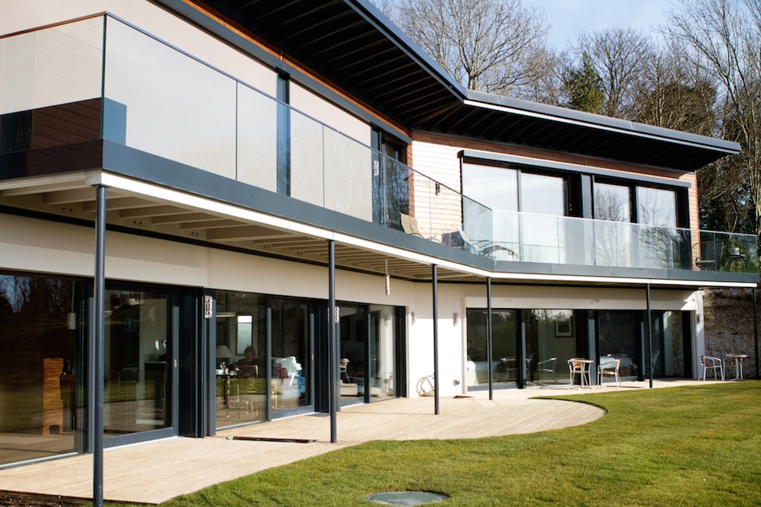 Skyhouse Sussex has 32 solar panels and a biomass boiler for heating among other sustainable features. Image: Sarah Weal