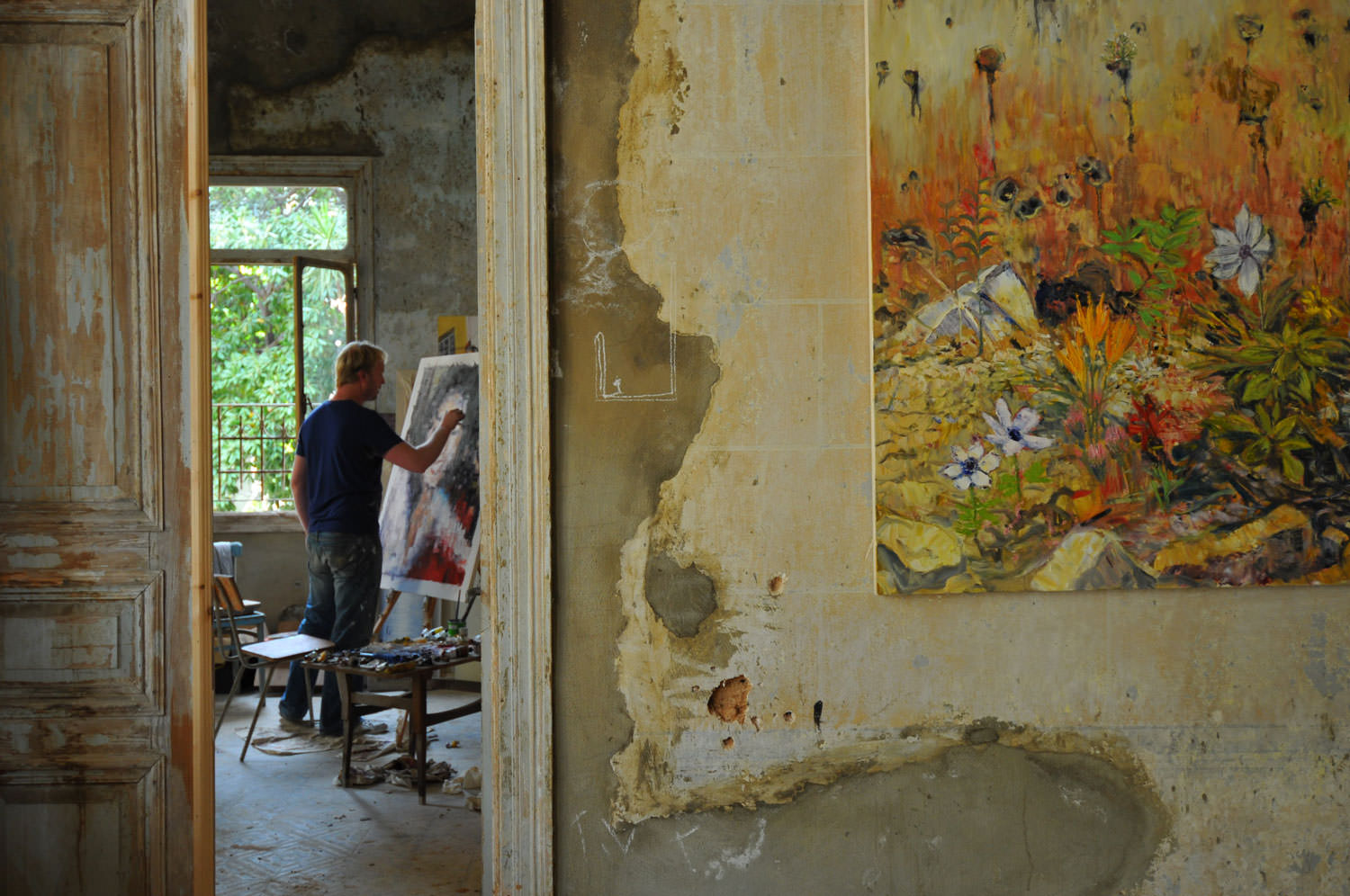 Tom Young in Villa Paradiso, Beirut, which he helped transform into a gallery. Image: Elsie Haddad