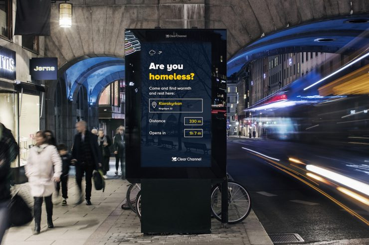 Image for City replaces adverts with directions to homeless shelters this winter