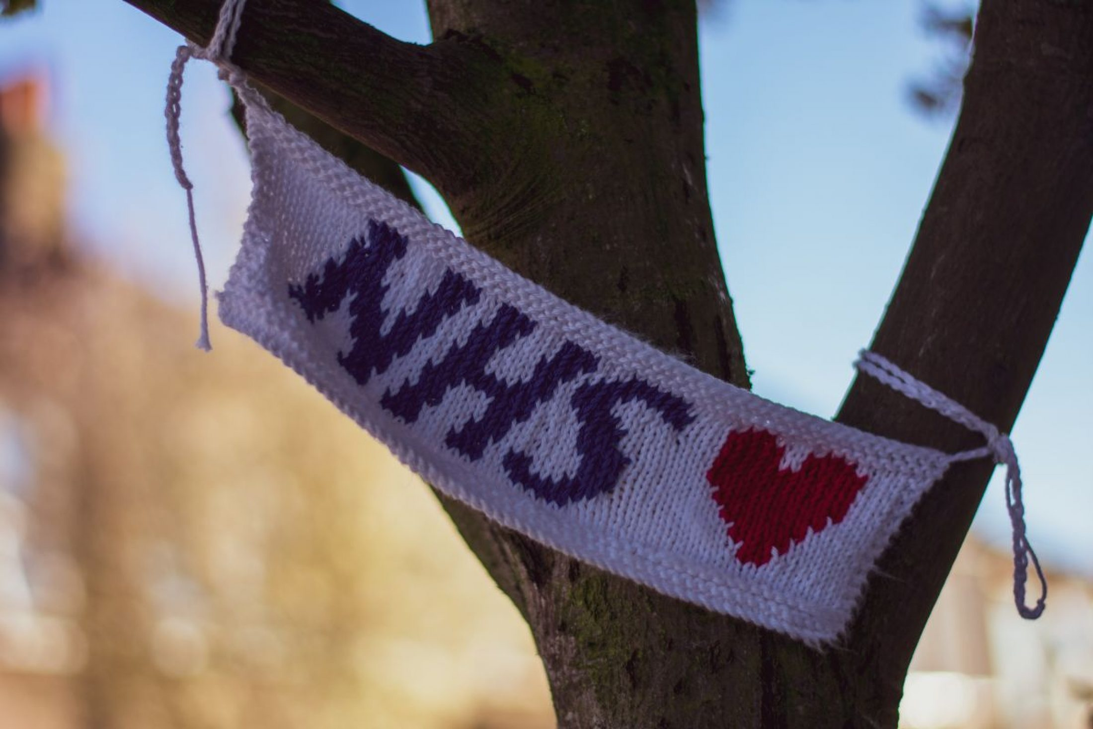 A knitted NHS banner