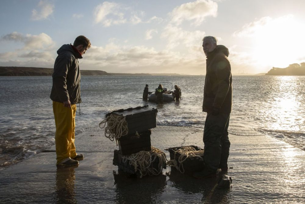 A team from Swansea University prepares to plant seagrass seeds in Dale Bay