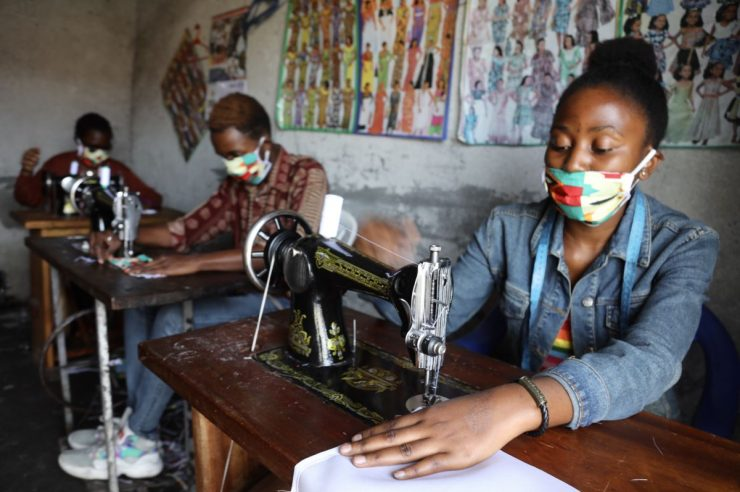 Image for The African tailors sewing face masks to halt the spread of coronavirus