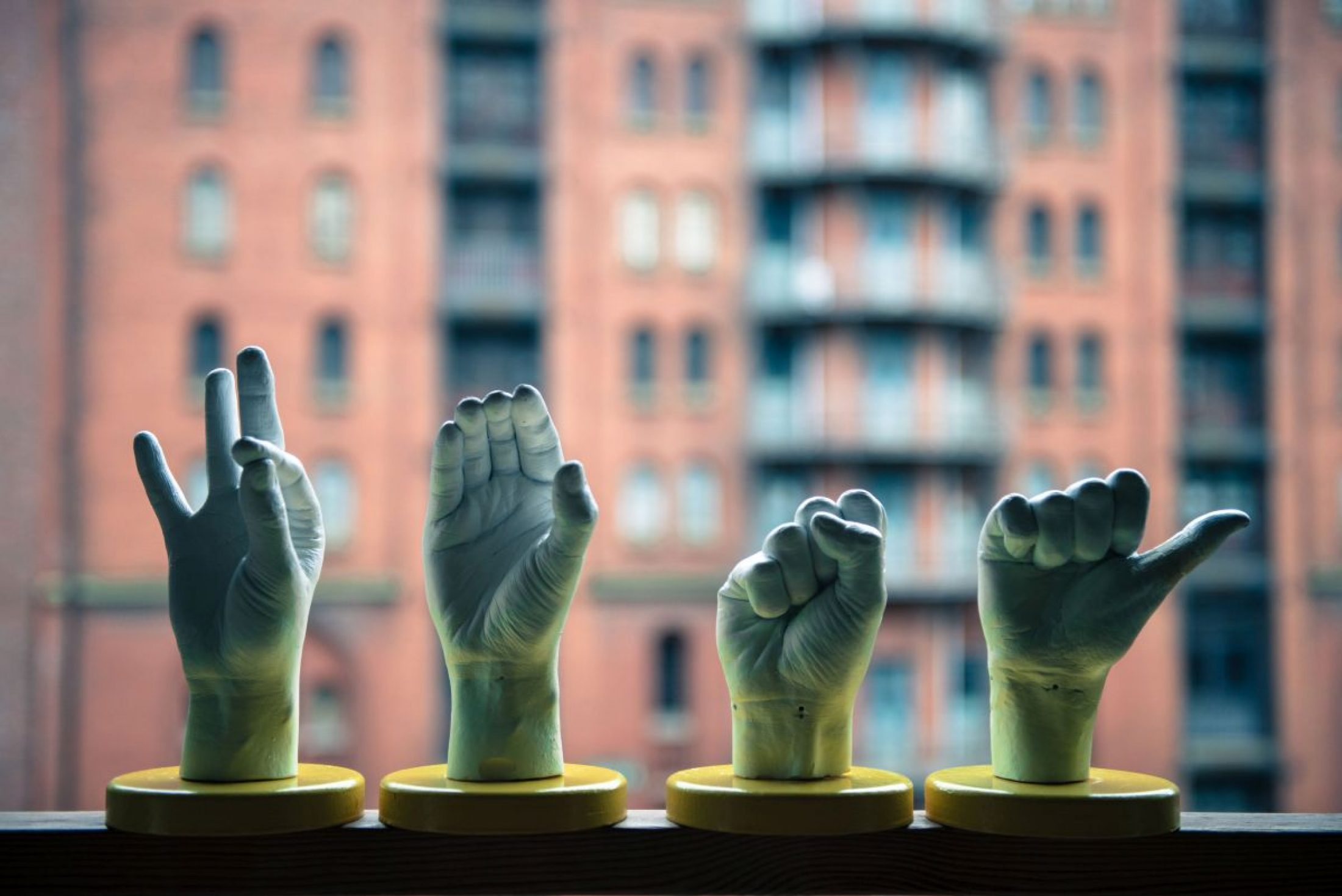 Hand signals: sculptures showing common signings at the 'Dialogue in Silence' workshop. Credit: Steffen Baraniak