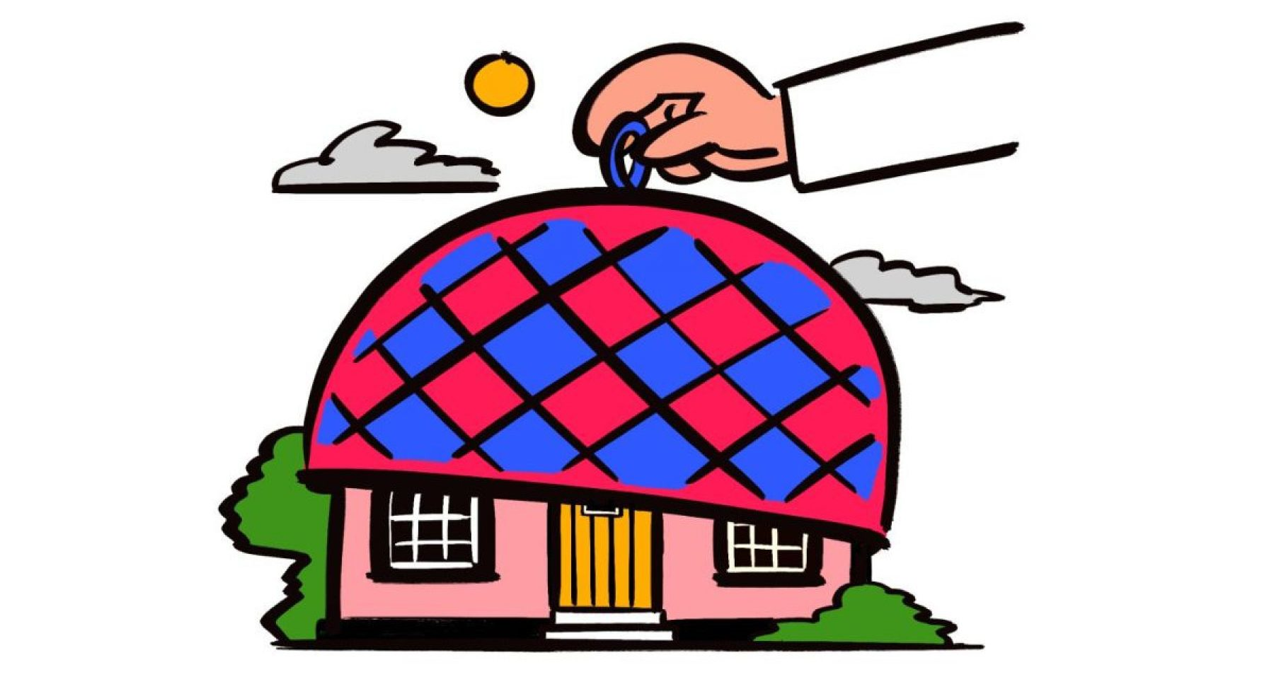 Image for 'What could be more exciting than putting a tea cosy on a house?'