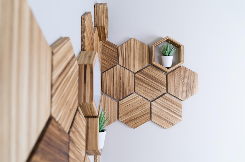 Decorative wall tiles made of bamboo chopsticks