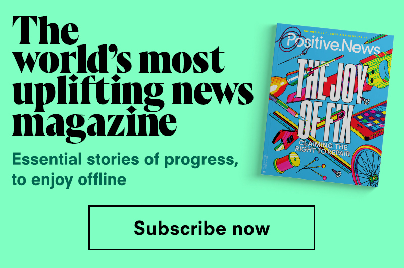 Ad to encourage subscriptions to Positive news
