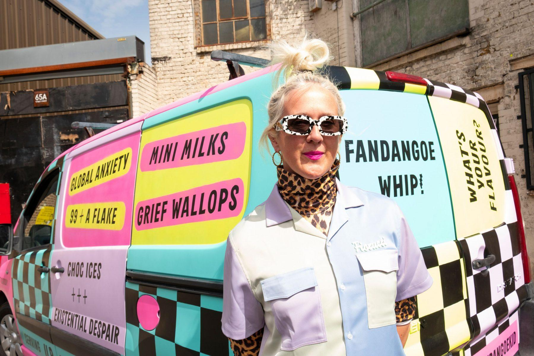Image of the artist traveling the UK in an ice cream van, to talk about pain